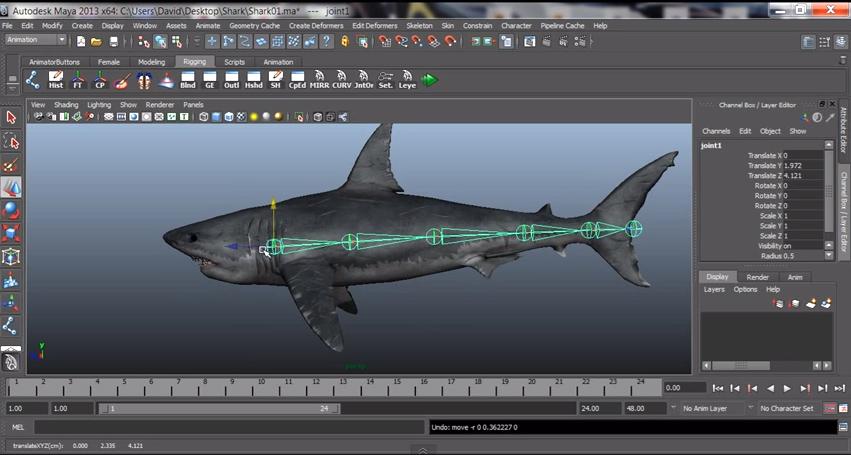 Animare uno squalo in Maya - Tutorial