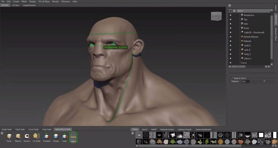 Symmetry Options for Retopology and for Existing Meshes and Caliper Tool