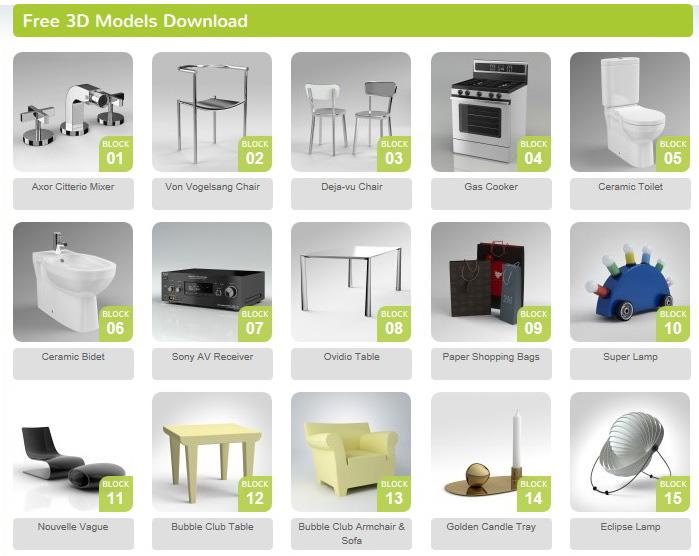 Modelli 3d di arredi free download for Software arredamento 3d gratis