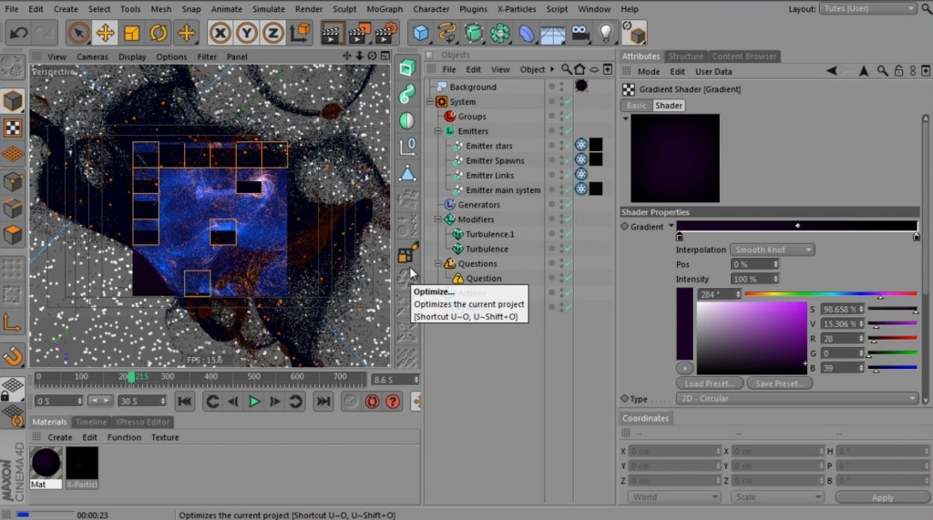 using x-particles to generate nebula structures_c4d