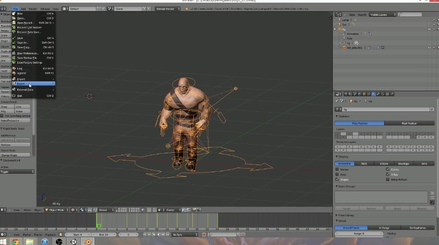 Blender Character Modeling For Unity : Esportare un character animato da blender per unity