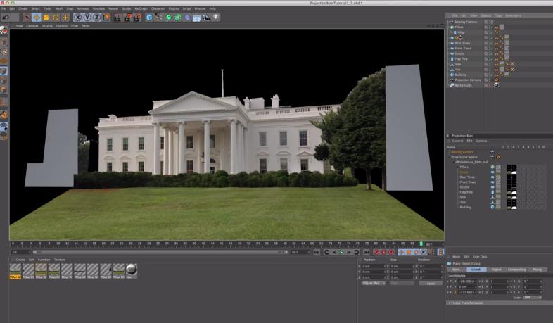 Cinema 4D Camera Mapping utilizzando il Projection Man