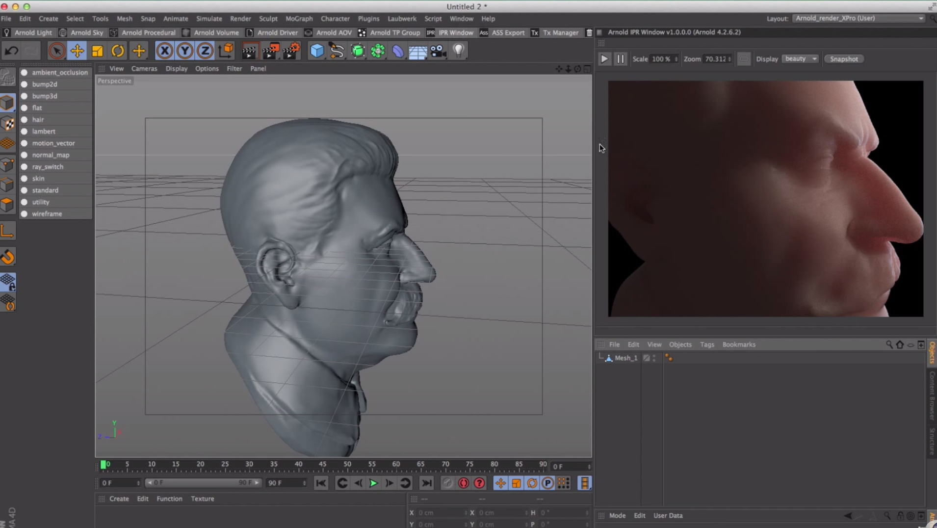 C4D - Arnold Render Tutorial Start to Set up Skin Shader