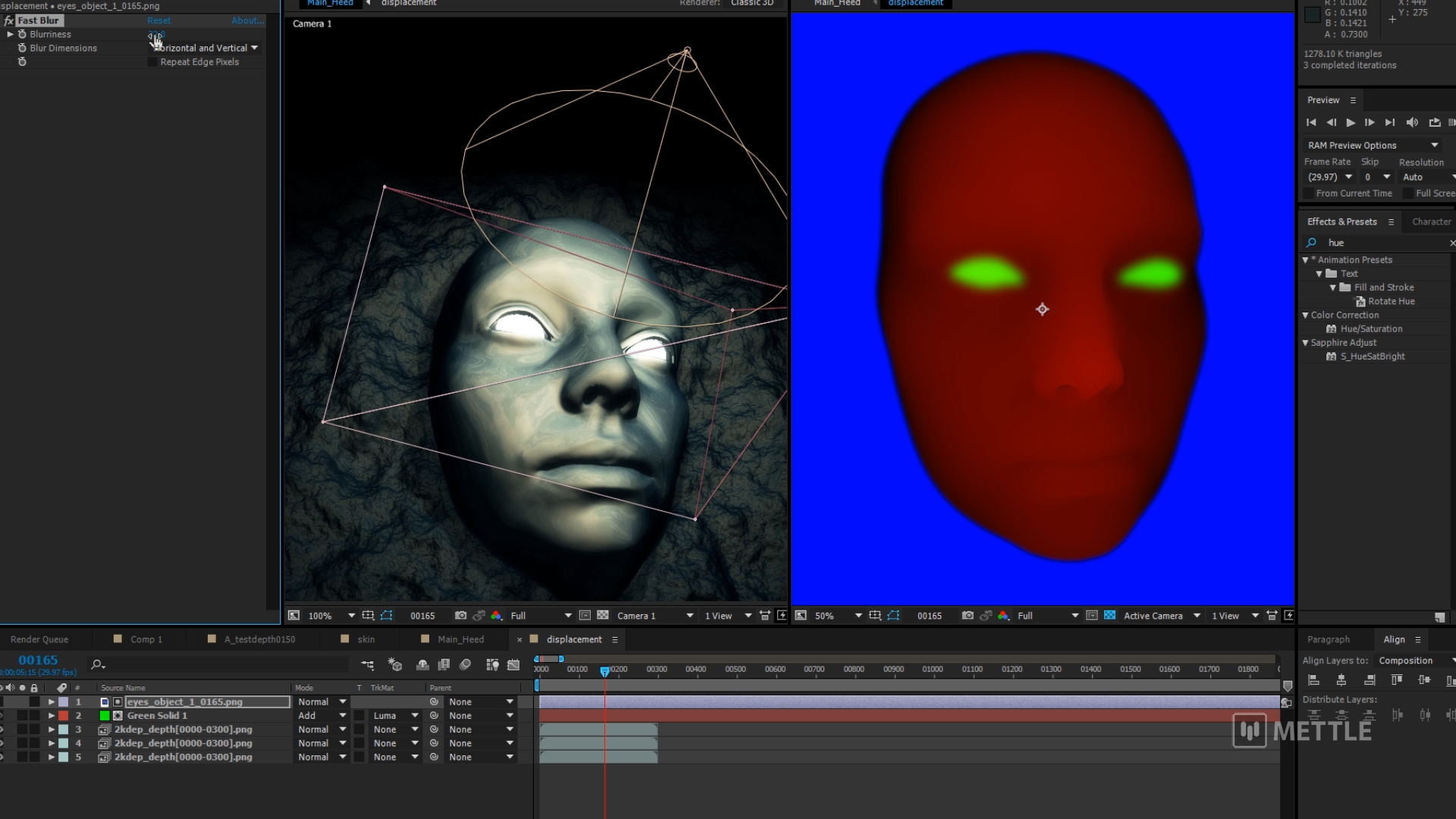 Displacement MapC4D in After Effects con FreeForm Pro