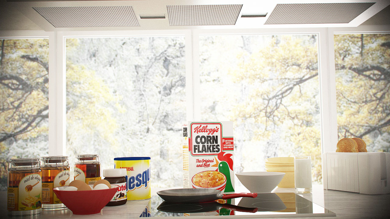 C4D Vray and Octane - 3D scene download Breakfast Kitchen Vray