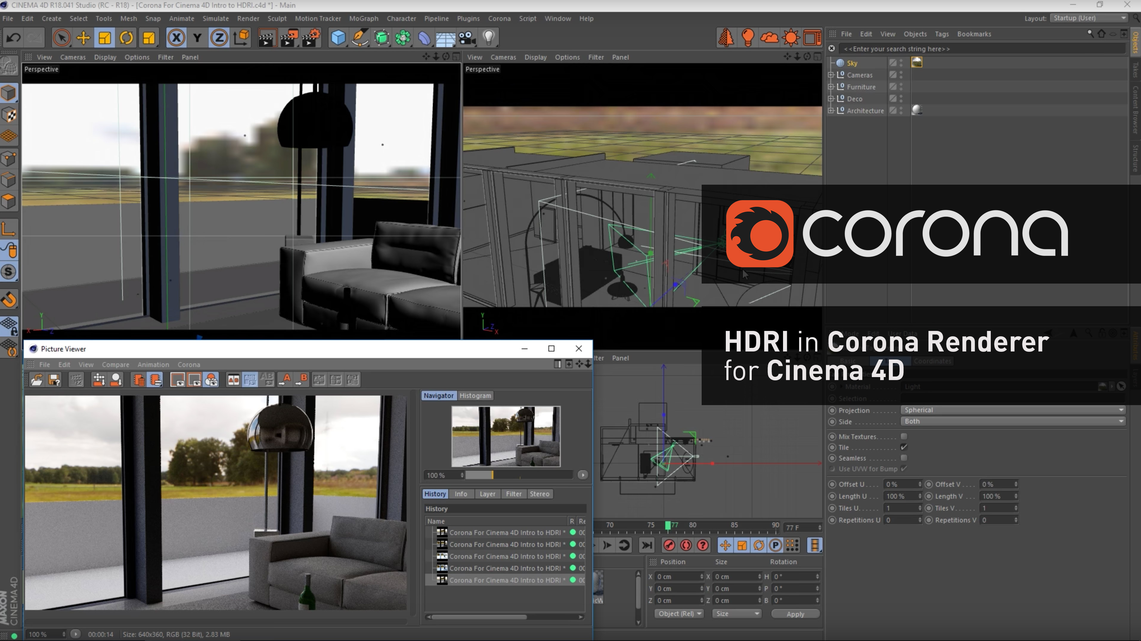 Hdri in corona renderer per cinema 4d 3dart for Cinema 4d raumgestaltung