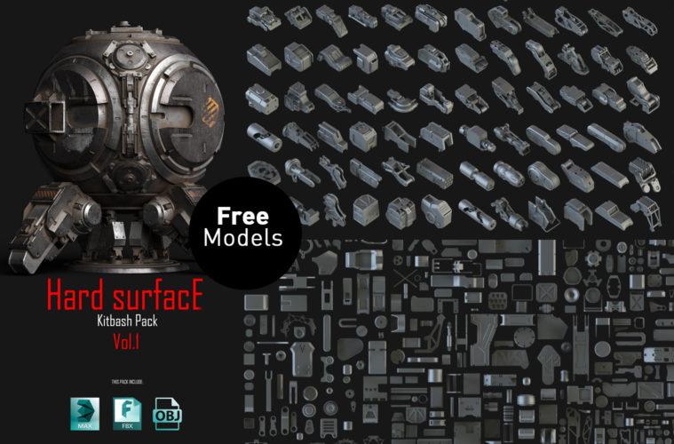 Download Hard Surface Kitbash Pack 01 | 3DArt