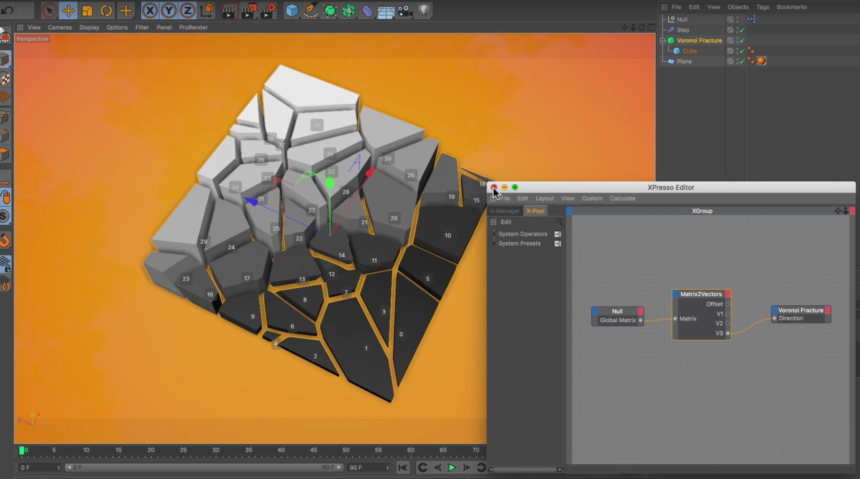 C4ds Voronoi Fragments Based On An Objects Rotation 3dart Diagram Tutorial