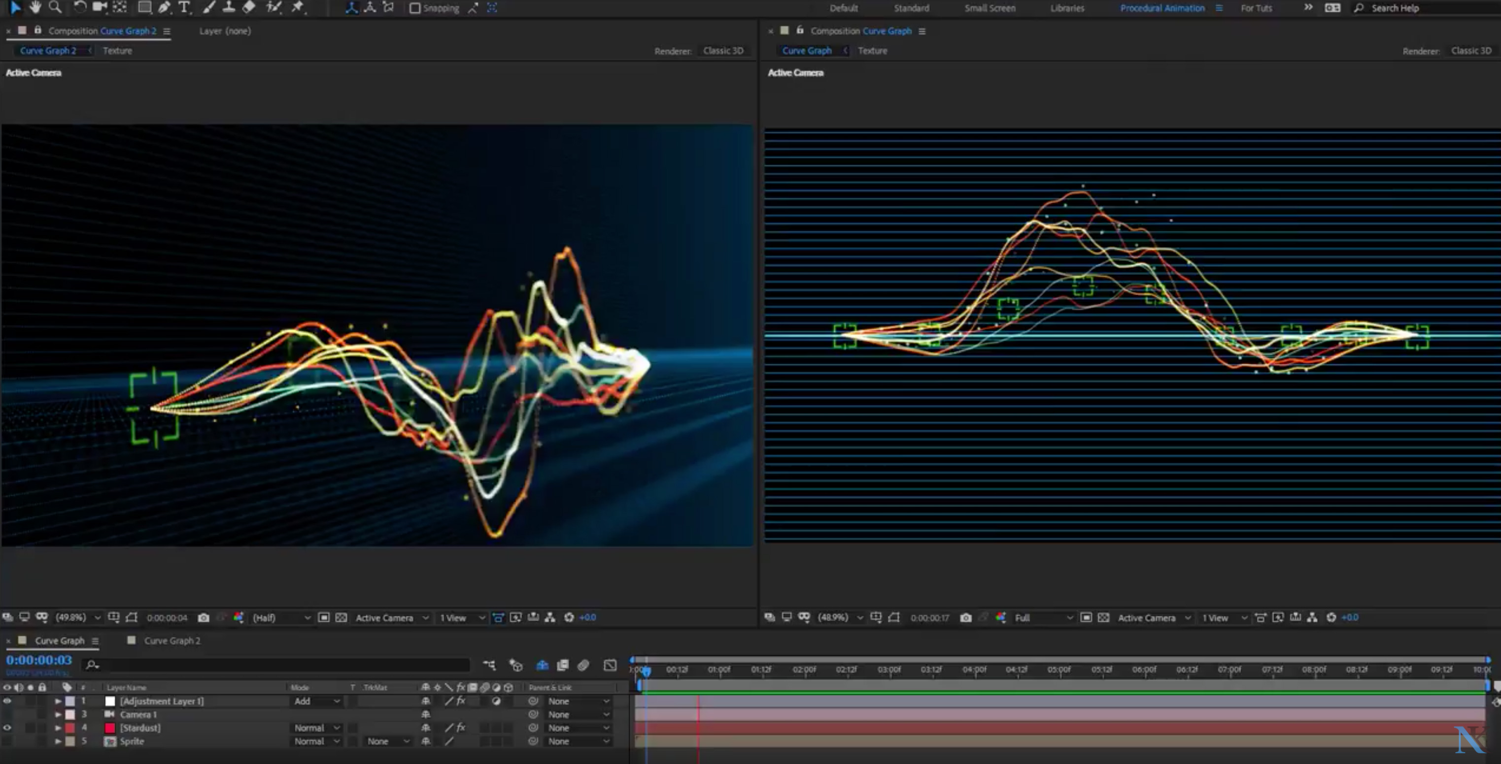 Create an Animated 3D Curve Graph in Adobe After Effect | 3DArt
