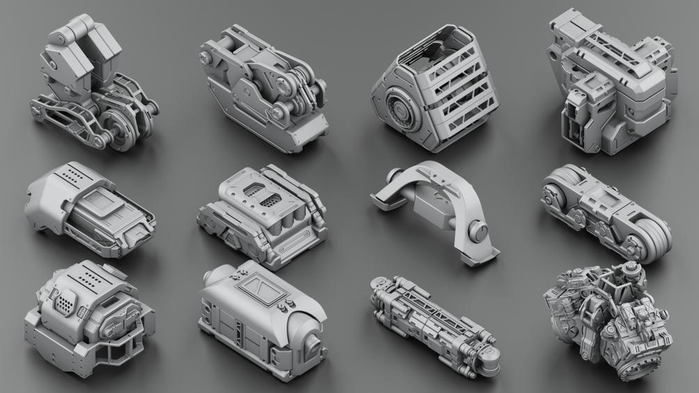 Download 300 free kitbash 3D Model part Vol 2 - 3 | 3DArt