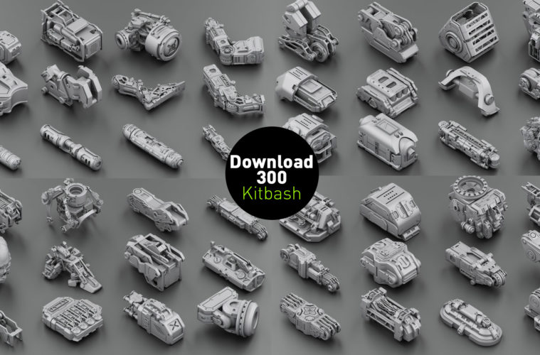 Download 300 free kitbash 3D Model part Vol 2 - 3 | 3DArt
