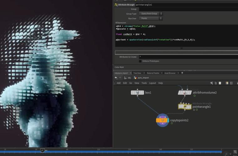 Pixelated smoke effect style in Houdini | 3DArt